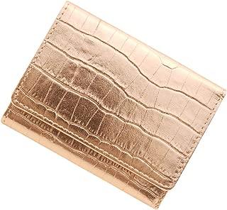 極小財布 クロコ型押しメタリック牛革 裏地ドット BECKER 日本製 ミニ財布/三つ折り