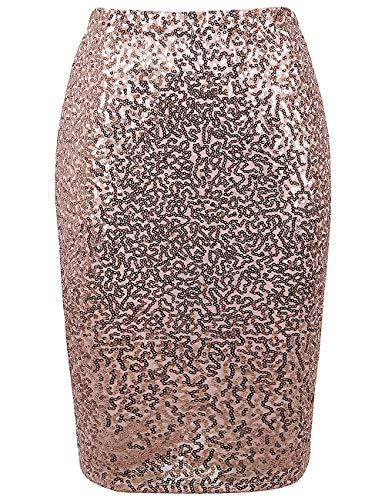 L'VOW Falda de lentejuelas para mujer, cintura alta, elástica, brillante, para cóctel, fiesta, Bodycon - beige - M