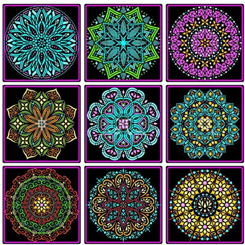 9PC 12x12 Inch Large Reusable Mandala Stencil Painting Template Floor Wall Tile Fabric Furniture Painting Stencils Mandala Stencils for Painting on Wood (9PC Floral Mandala)