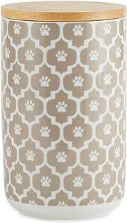 Bone Dry Lattice Pet Collection Ceramic, Treat Canister, 4x6.5, Stone
