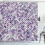 ABAKUHAUS Lavanda Cortina de Baño, púrpura Retro, Material Resistente al Agua Durable Estampa Digital, 175 x 200 cm, Violeta Violeta Blanco