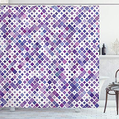 ABAKUHAUS Lavendel Duschvorhang, Lila Retro Artsy, mit 12 Ringe Set Wasserdicht Stielvoll Modern Farbfest & Schimmel Resistent, 175x180 cm, Violett Lila Weiß