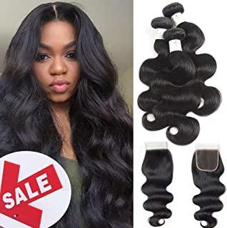 Baby Young Hair Brazilian Body Wave Hair 3 Bundles with Closure 4x4 Free Part Lace Closure with Bundles 8A Unprocessed Brazilian Body Wave Human Hair Extension Natural Color(16 18 20+14 Closure)