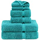 Indulge Linen 100% Turkish Cotton Towel Set (Aqua, Towel Set - 6 Piece)