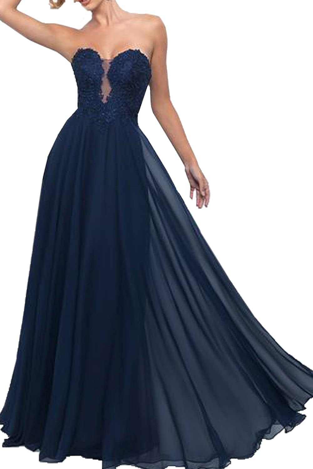 Honey Qiao Sweetheart Navy Prom Dresses Long Sheer Lace Evening Party Gowns