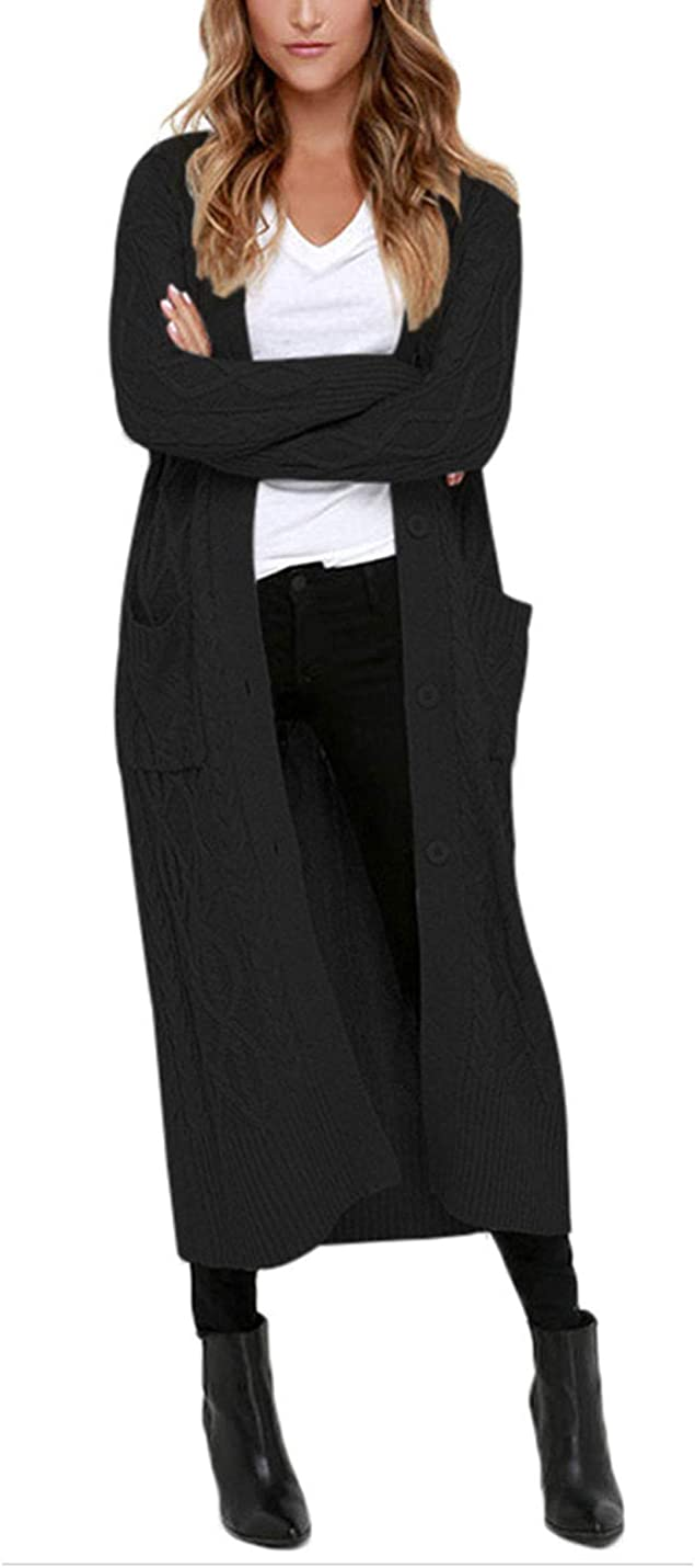 Omoone Women's Button Up Cable Knit Maxi Long Cardigan Sweater with Pockets
