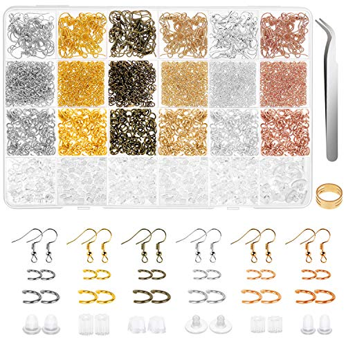 Earring Hooks, Anezus 1900Pcs Earring Making Supplies Kit with Jewelry Hooks, Fish Hook Earrings, Earring Backs, Jump Rings for Jewelry Making and Earring Repair,Gifts for Women and Friends(Assorted Colors)