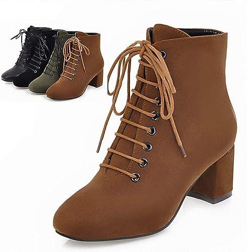 Fuxitoggo Stiefel para damen - Stiefel Gruesas de Invierno con tacón Alto 5.5Cm Cordones con Cordones Stiefel para damen 34-43 (Farbe   braun, tamaño   36)