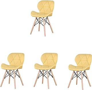 Nobranded Juego de 4 sillas de Comedor sillas de Tela con Respaldo y Asiento Acolchado y Patas de Madera para Sala de Estar Comedor Cocina sillas de Tela (Amarillo)