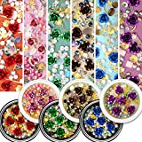Flower Nail Rhinestones, 6 Pots Mixed Metal Rose Charms Gold Starfish Shell Line Sparkle Sea-Shaped Gems Set, Colorful Pearl Diamond Artificial Gradient Jewelry DIY 3D Nail Art Decoration