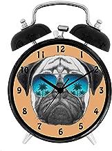 BCWAYGOD Pug, Dog with Reflecting Aviators Palm Trees Tropical Environment Cool Pet Animal,Desk Clock Home Unique Decorative Alarm Ring Clock 4in, Black Orange Blue