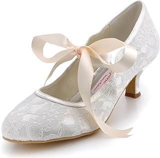 06698090e1b ElegantPark A3039-2 Women Round Toe Mary-Janes Mid Heel Satin Lace Ribbon  Tie