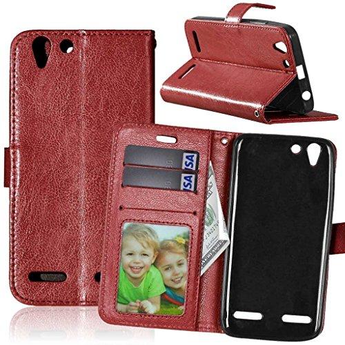 FUBAODA für Lenovo Vibe K5 Tasche Schwarz + Kostenlos Syncwire Ladekabel, Leder Hülle, Flip Leder Money Brieftasche, Hülle für Lenovo Vibe K5 (K5 Plus A6020) (braun)