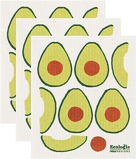 Now Designs Avocados Ecologie Swedish Sponge Cloth Set of 3 Dishcloth, 3