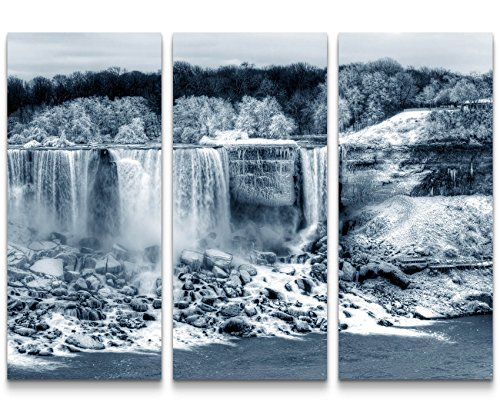 Eau Zone Wandbild auf Leinwand 130x90cmcm Niagarafälle im Winter