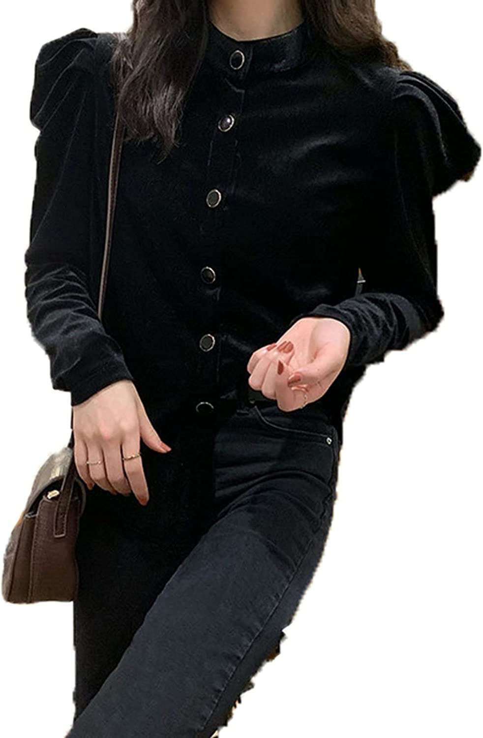 Ladies Shirts Breathable Office Puff Max Time sale 75% OFF C Baggy Sleeve Women's Tops