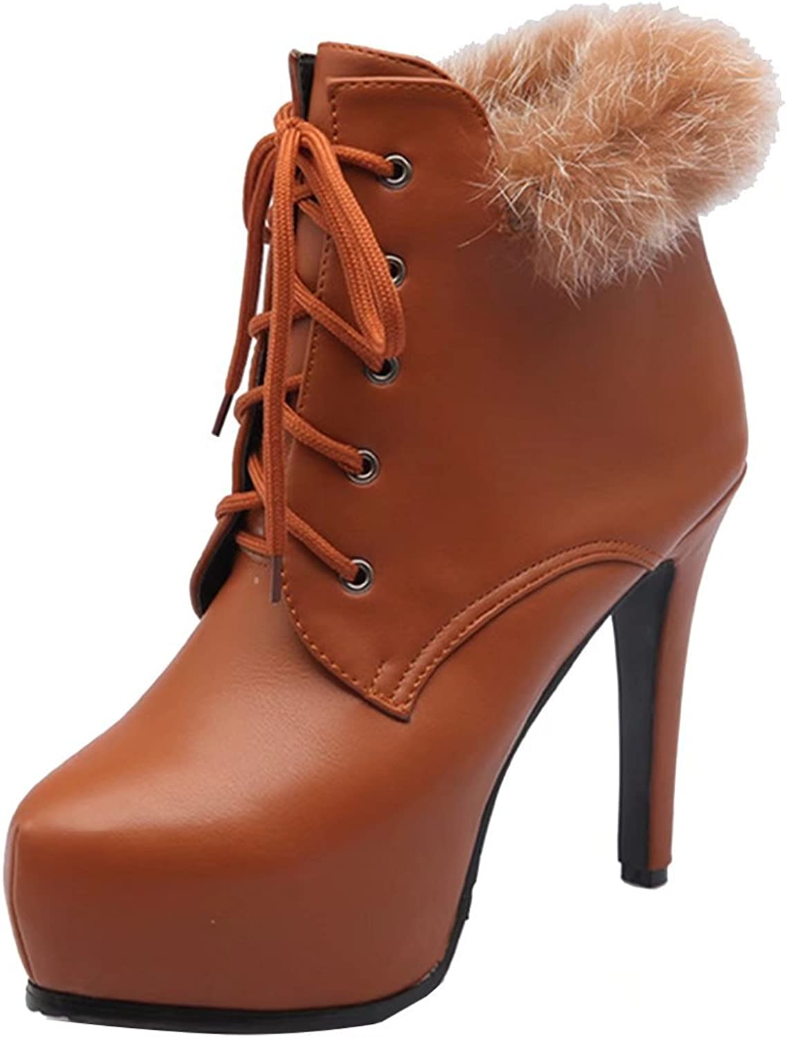 AIYOUMEI Women's Lace-up Round Toe Stilettos Autumn Winter Ankle Boots with Fur