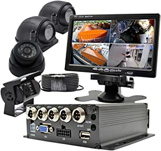 WeniChen MDVR kit for Bus Truck Van Trailer Security - 960P 4CH SD Card Mobile DVR Video Recorder + 4X 960P AHD Front Side Rear View Cameras + 7