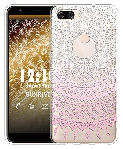Sunrive Für Asus Zenfone Max Plus (M1) ZB570TL Hülle Silikon, Transparent Handyhülle Schutzhülle Etui Hülle für Zenfone Max Plus ZB570TL 5,7 Zoll(TPU Blume rosa)+Gratis Universal Eingabestift