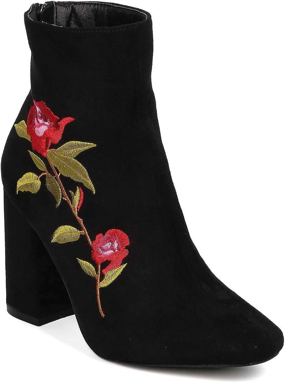 CAPE ROBBIN kvinnor Faux mocka broderade Flowers Flowers Flowers Block Heel Booslips HJ43  100% äkta motgaranti