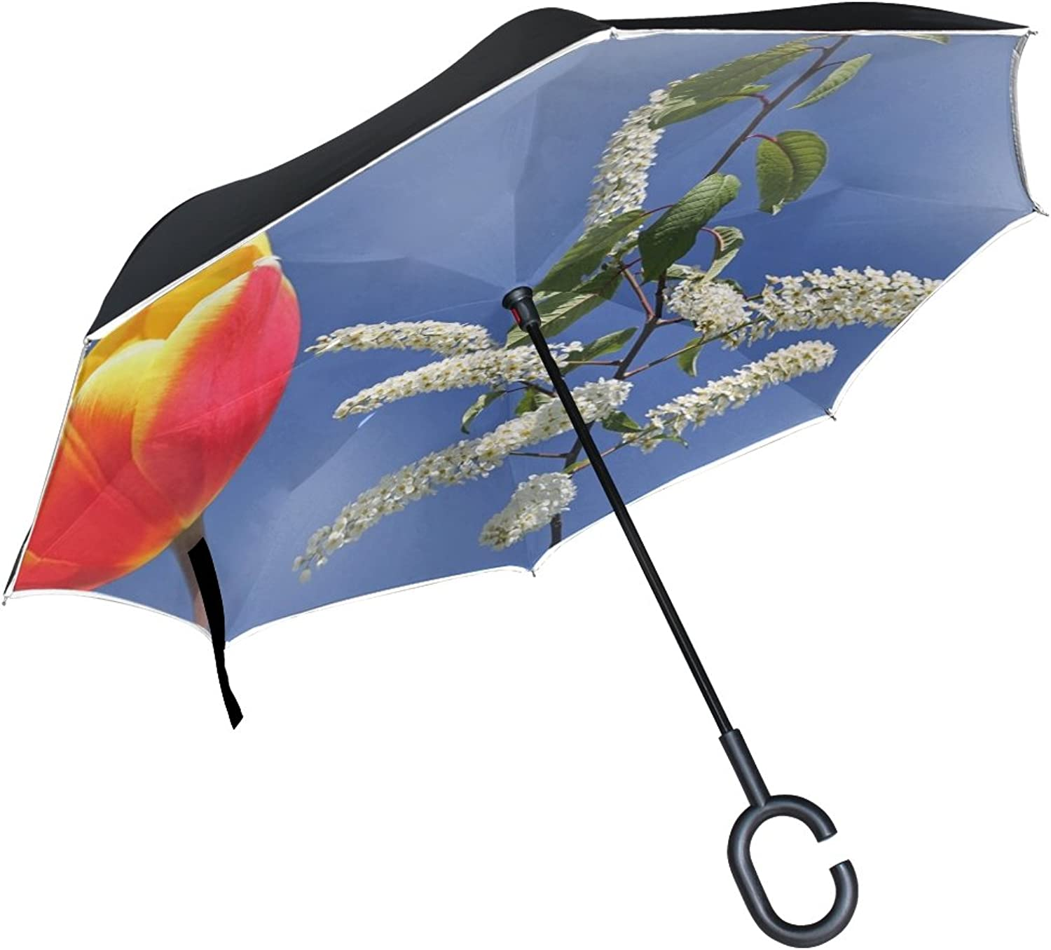 Double Layer Ingreened Nature Plant Flower Exotic Blossom Bloom blueee Umbrellas Reverse Folding Umbrella Windproof Uv Predection Big Straight Umbrella for Car Rain Outdoor with CShaped Handle