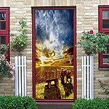 YMXRZDM Pegatinas Puertas Adhesivo Interiores campo pelar y Pegar el Vinilo desprendible de Las Etiquetas de Puerta para la decoración del hogar,2 Piezas Set 95 x 215 cm