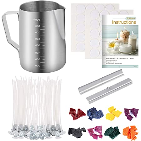 """Metal Candle Wick Holder and Stir Spoon Candle Craft Tools Candle Wick Stickers 4/"""" 6/"""" Cotton Candle Wicks Candle Making Kit Stainless Steel Candle Making Pouring Pot"""