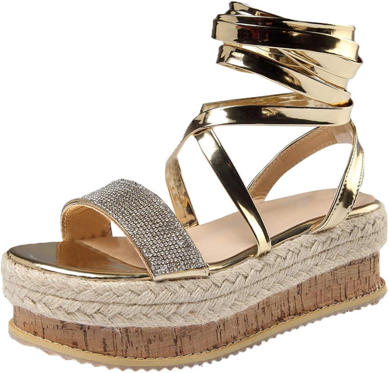 SUSENSTONE Women shoes Crystal Flat Playform Woven Sandals Roman shoes