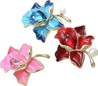 HUI JIN Lot de 3 broches en émail Motif fleur pour T-shirts, vêtements, vestes (bleu, rose, rouge)