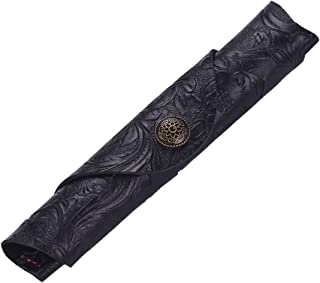 Vintage Handmade Leather Single Pen Case Holder Cowhide Fountain Pen Sleeve Roll Wrap Pen Pouch (Black Carved)