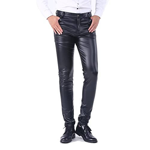 36fc44beb1f71a Idopy Men`s Business Slim Fit Five Pockets Faux Leather Pants Jeans
