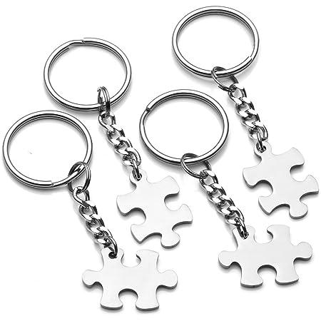 Cnymany 4 Stück Puzzleteil Paar Schlüsselanhänger Jubiläum Dekoration Schmuck Schlüsselanhänger Für Liebhaber Mann Frau Freund Freundin Auto