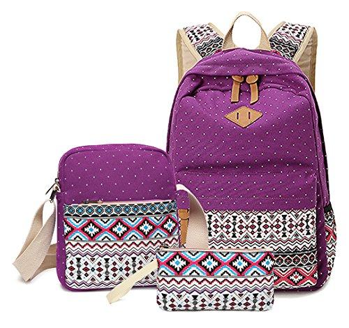 Greeniris 3 Stück Set Groß Rucksäcke Damen Schulrucksack Mädchen zum College Schule Violett