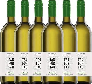 VINELLO 6er Weinpaket Weißwein - Tag für Tag Scheurebe halbtrocken 1,0 l 2020 - Frankhof Weinkontor mit Weinausgießer   halbtrockener Weißwein   deutscher Sommerwein aus der Pfalz   6 x 1,00 Liter