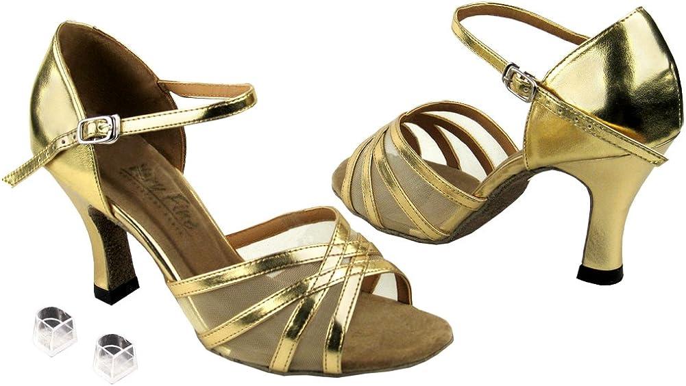 Very Fine Ladies Women Ballroom Dance Shoes EK6027 Gold Leather & Flesh Mesh 3