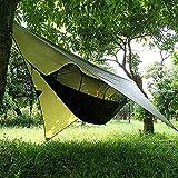 XISHUAI Camping Hängematte Outdoor mit Moskitonetz und Wasserdicht Plane Ultra-Licht