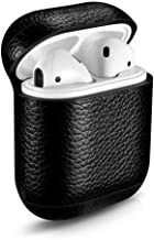CLETO Leather Case Cover with Strap for AirPods Airpod Leather Portable Protective Shockproof Cover for Apple AirPods Charging Case-Black(with Key Ring)