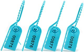 Leadseals(R) 1000 Anti-Tamper Security Seal Tags Numbered, Pull Zip Ties, Disposable Self-Locking Ties for Fire Extinguisher, Tearing-Off Type, 210mm Length (Blue)