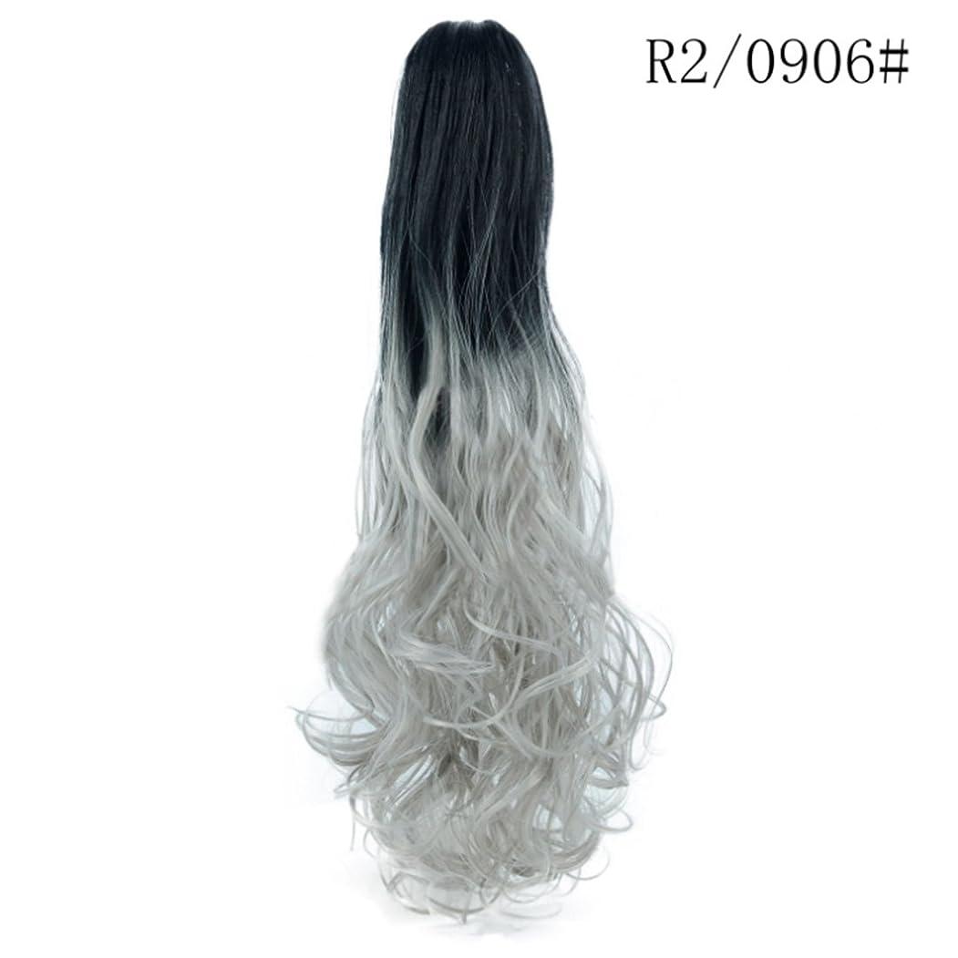 船上カニ勧めるJIANFU ロングロール目に見えないシームレスなひげそりの髪21インチの爪のクリップポニーテールのウィッグ女性のための大きな波ロールのヘアピースカーリーポニーテールのかつら (Color : R2/0906#)