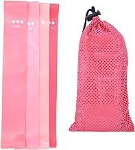 Gradiënt roze kleine yoga loopbandenset, dames heren zware elastische trainingsbanden voor spieropbouw, natuurlijke latex ...