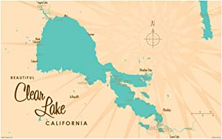 "Clear Lake California Vintage-Style Map Art Print Poster by Lakebound (12"" x 18"")."
