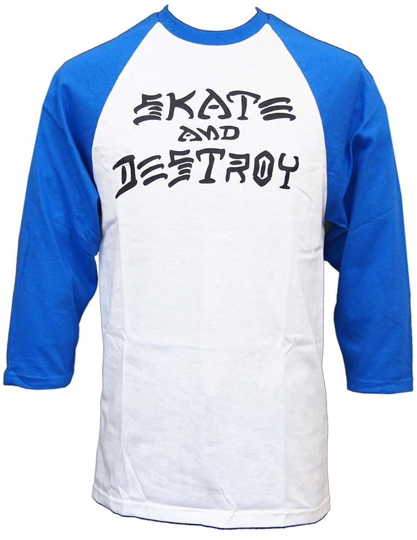 (スラッシャー) THRASHER スケート?アンド?デストロイ ラグラン ブルー×ホワイト