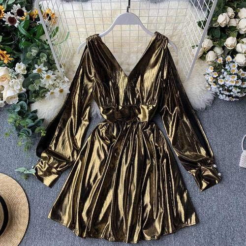 TSEINCE Vestido Delgado Retro Mujer Cuello en V Cintura Delgada Blusas de Cuero Brillante Camisa de Manga Larga con hojaldre Sólido