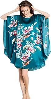 dc107edaaf Prettystern - 100% Pura Seta Raso Crepe Kimono Pigiama Camicia da Notte  Lingerie Stampa Digitale