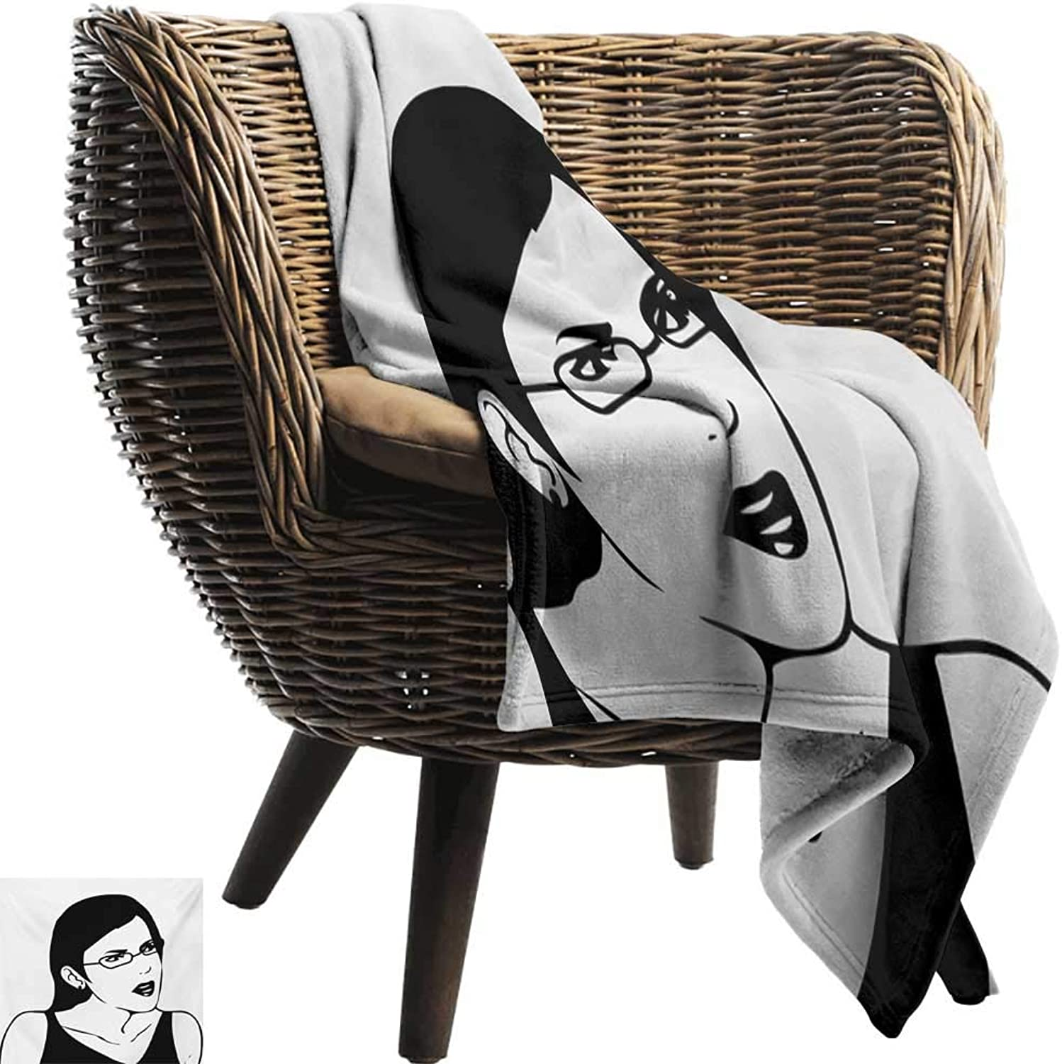 BelleAckerman Baby Blanket,Humor,Girl Woman Face Meme Unpleasant of Regular Life Situation Online Hipster Image,Black and White,Super Soft Light Weight Cozy Warm Plush Hypoallergenic Blanket 50 x70