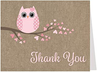 Owl Thank You Cards Baby Shower Babies are a Hoot Owls Pink Burlap Hearts It's a Girl Girls Country Feather Their Nest Burlap Printed Folding Thank You Notes (50 Count)