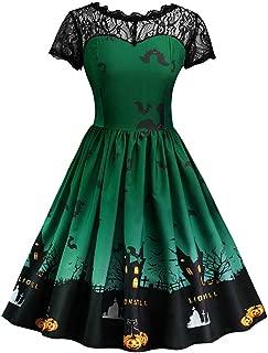 TOTOD Halloween Costume Women Pumpkin Skater Dress A-line Lace Castle Bat Swing Dresses