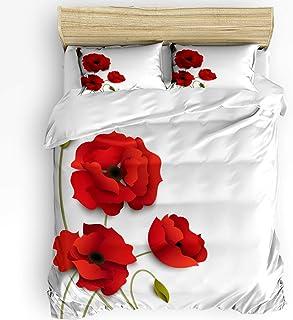 YnimioHOB Juego de Ropa de Cama de 3 Piezas, Juego de Funda nórdica Flor de Amapola roja con 2 Fundas de Almohada Decorativas, Colcha de Arte Floral Moderno
