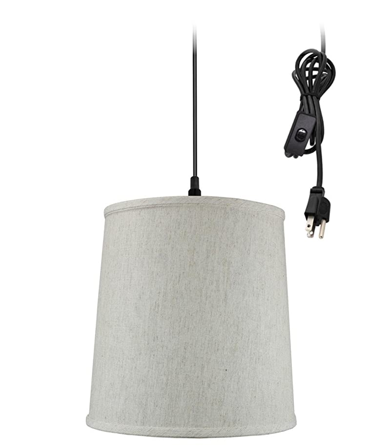 Plug-In Pendant Light By Home Concept - Hanging Swag Lamp Textured Oatmeal linen Shade - Perfect for apartments, dorms, no wiring needed (Textured Oatmeal, Black One-light)