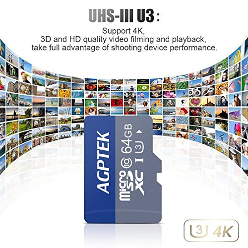 AGPTEK 64GB Micro SD Card UHS-I U3 with Card Reader, Compatible with AGPTEK Mp3 Player
